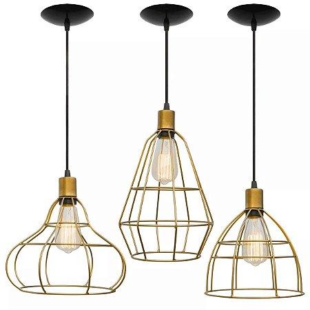 Pendente Luminaria Aramado TRIO Retrô Lustre Cobre Dourado Teto Mesa Sala Cozinha Balcão