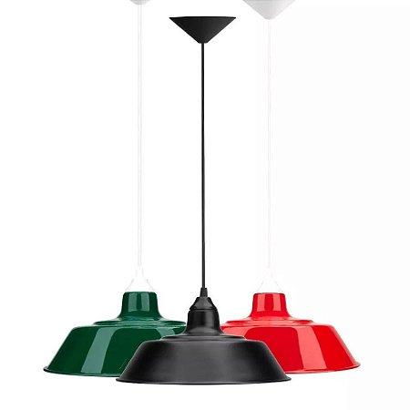Kit 3 Lustres Luminária Prato Pendente Retro Teto Mesa Sala Balcão Cozinha Quarto