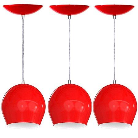 Kit 3 Pendentes Bola Coloridos Luminaria Lustre Teto Mesa Sala Cozinha Balcão