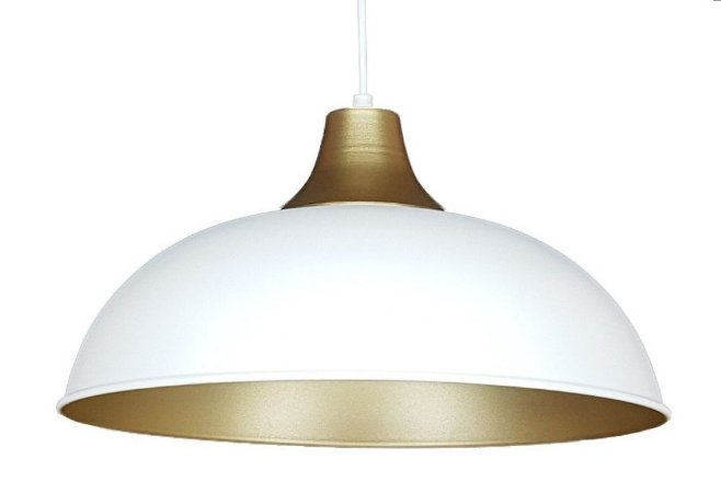 Luminária Pendente Lustre Banco E Dourado Meia Lua Meia Bola De Teto Mesa Sala Cozinha