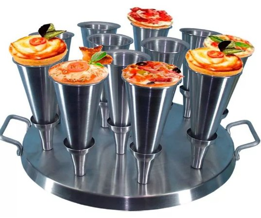 Forma Para Mini Pizza Cone 12cm Alumínio 12 Mini Pizzas