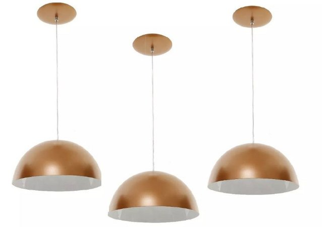 Kit 3 Pendentes Lustre Meia Lua De Alumínio Cobre Com Branco 33cm Luminaria Teto Mesa Sala Cozinha