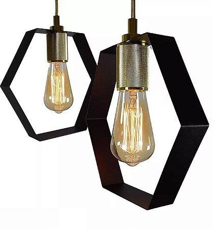 Kit 2 Pendentes Industrial Hexa + 2 Lampadas Led Retro Vintage Lustres Luminarias Teto