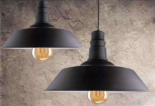 Kit 2 Pendentes Lustre Retro Black Industrial Vintage - Luminárias Teto Mesa Sala