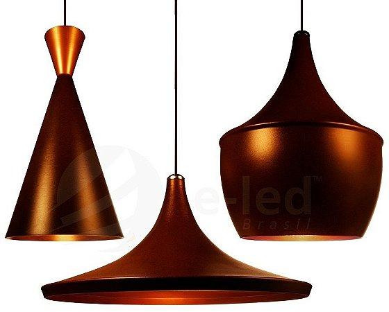 Kit 3 Luminarias Lustres Dixon De Alumínio Marrom E Cobre - Pendente Teto Mesa Cozinha Sala