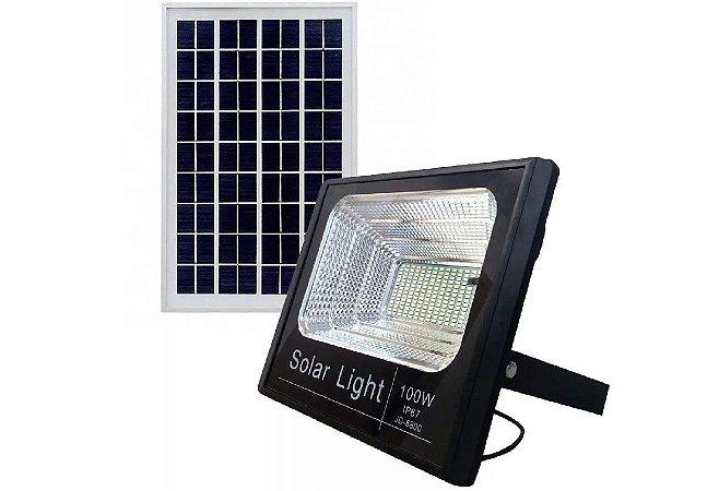 Refletor Holofote Solar Led 100W Com Placa E Controle Remoto (PROMOÇÃO)