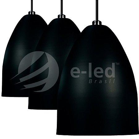 Kit Lustres 3 Pendentes Preto Alumínio Cone - Luminarias Teto Mesa Sala Cozinha