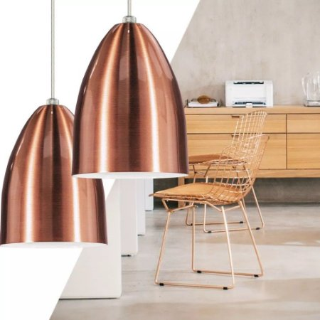 3 Lustres Pendentes Cone De Alumínio Cobre Rosê Luminarias Teto Mesa Sala Cozinha