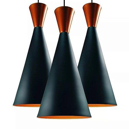 Kit 3 Luminárias Pendente Canadá Estilo Tom Dixon Moderna - Lustres Teto Mesa Ambientes