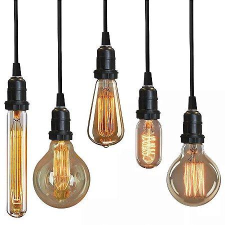 Jogo 6 Pendentes Vintage Retro + 6 Lâmpadas 40W Filamento 220V Lustres Luminárias Teto Mesa