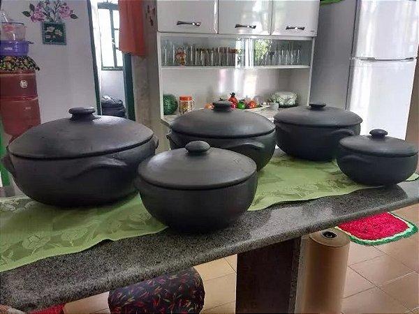 Jogo 5 Panelas De Barro Capixaba Cozinha Restaurante 1, 3, 4, 6 E 8 Litros