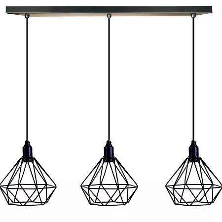 Trio Pendentes Aramado Preto Retrô Luminária Lustre Diamante - Teto Mesa Sala Cozinha