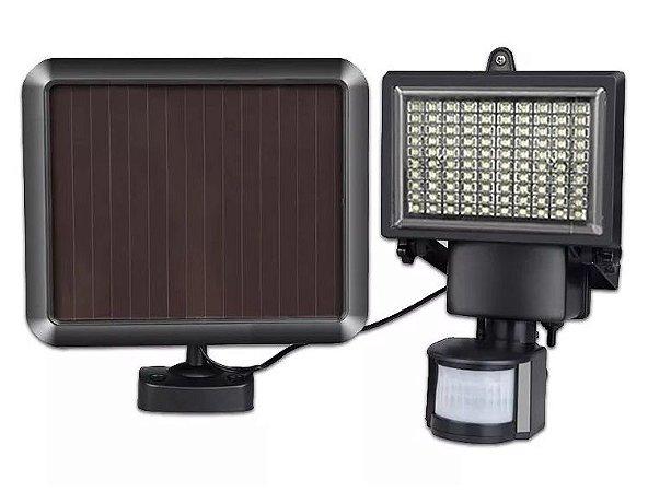 Refletor Luminaria Solar 90W Leds Cor Branco Frio Com Sensor De Movimento