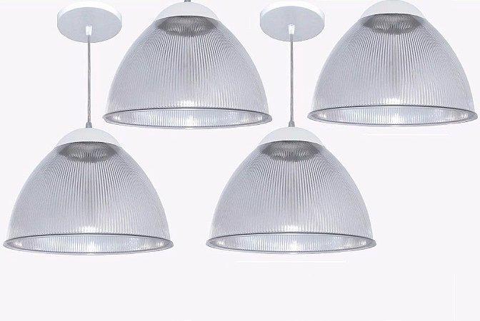 Kit 4 Lustres Pendente Prismático 32cm - Luminária De Teto Sala Cozinha Quarto