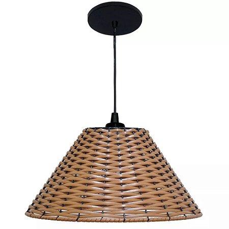 Lustre Luminária Pendente Junco Sintético Sala Cozinha Quarto - Mod Chapéu Chinês 30cm