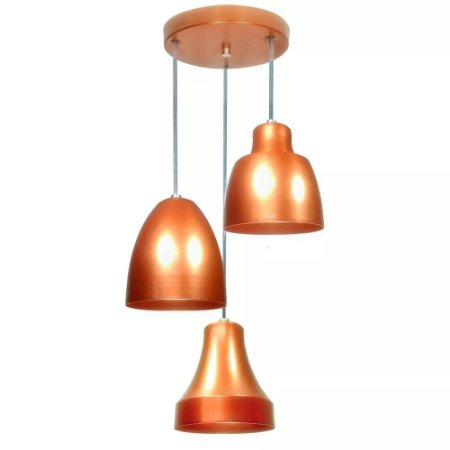 Lustre Luminária Pendente Em Alumínio Bell Trio - Sala Quarto Cozinha
