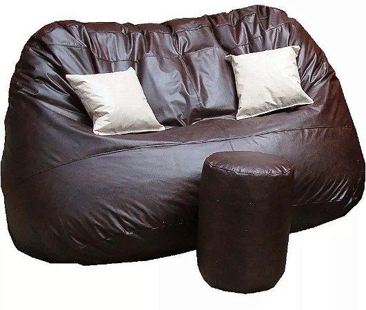 Puff Grande Sofá Duplo Com 2 Almofadas 1 Apoio De Pés VAZIOS - Sala Quarto Chão