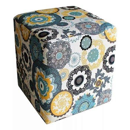 Puff Decorativo Quadrado Estampado Floral Suporte Apoio Pés E Pernas - Sala Quarto