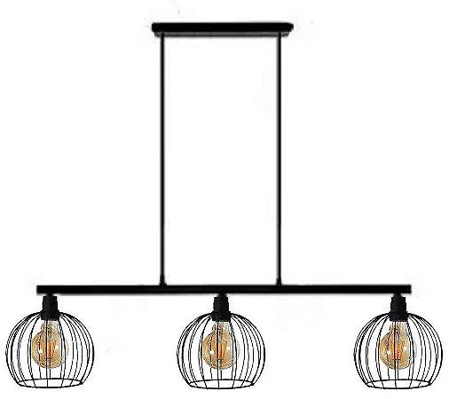 Pendente Lustre Triplo Aramado Luminaria Nordic Vintage + Lampadas Led