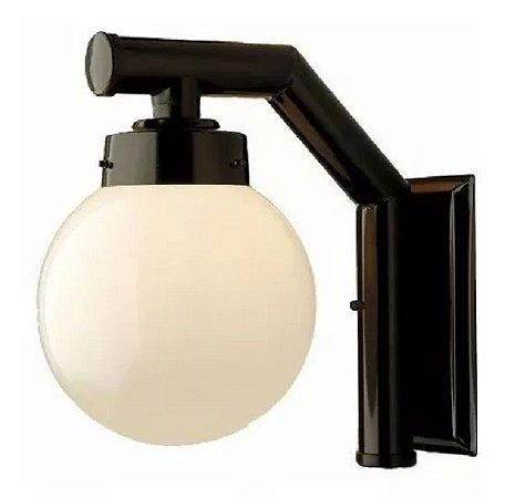 Arandela Colonial Interna Externa Luminária Globo Vidro Leitoso Preta