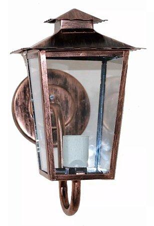 Arandela Estilo Colonial Cor Cobreada E Vidro Transparente - Interna Externa