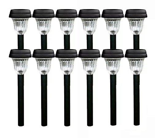 Kit 12 Luminária Solar Espeto Para Jardim Decoração Led - Luminosidade Decorativa