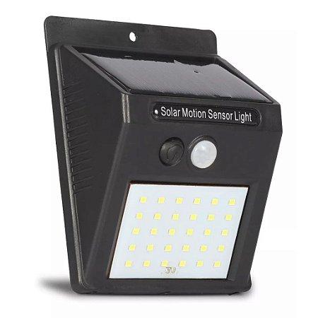 Luminária Arandela Balizador Solar 30 Leds Com Sensor Presença - Muro Parede Jardim