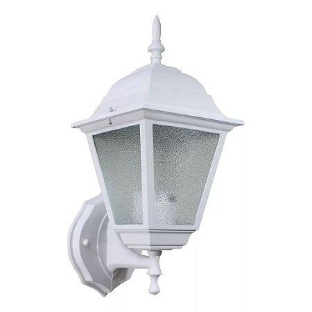 Arandela Colonial Branca Em Alumínio E Vidro Bocal E27 Interna Externa