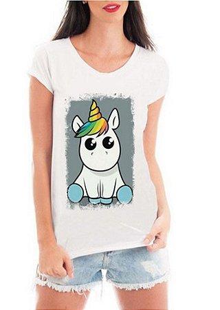 12fbd72150 Camiseta Feminina Tshirt Blusa Feminina Unicórnio Fofinho - Personalizada   Estampadas  Camiseteria  Estamparia