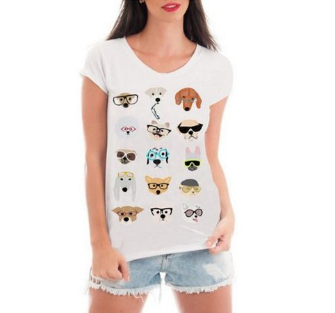 7a0b62278 Blusa Feminina Dog Glasses Divertidos Blusa Branca - Personalizadas   Customizadas  Estampadas  Camiseteria