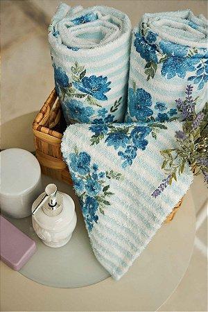 Jogo de Banho Estampado Lepper 2 peças Aquarela Floral Azul