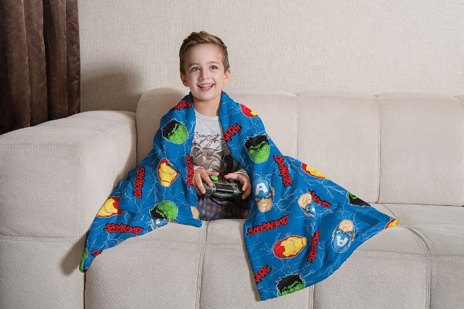 Manta Fleece de Sofá Estampada Infantil Avengers Lepper Azul