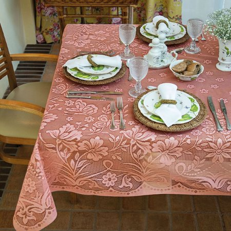 Toalha de Mesa de Renda Retangular 6 Lugares Realeza Lepper Rosa