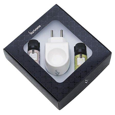 Kit Presente Aromatizador Standard Via Aroma + 02 Essências Capim Limão e Jasmim Branco