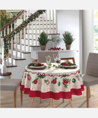 Toalha de Mesa de Natal Redonda 4 Lugares Athenas Dohler Natal 83