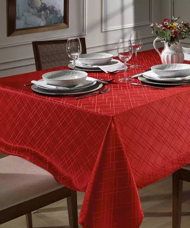 Toalha de Mesa Festa Natal Retangular 8 Lugares Requinte II Dohler Vermelho