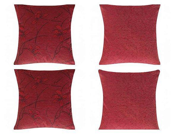 Kit c/ 04 Capas de Almofada Velute 45cm x 45cm [Vermelho Liso/Floral]