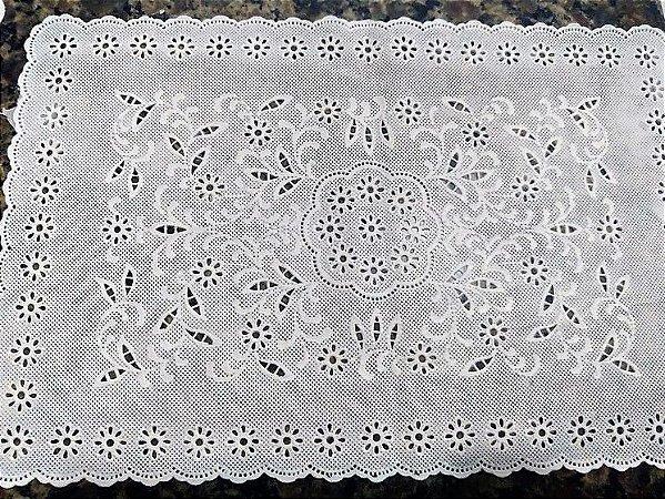 Jogo de Toalhas Plásticas Rendadas 06 peças Retangular [Branco]