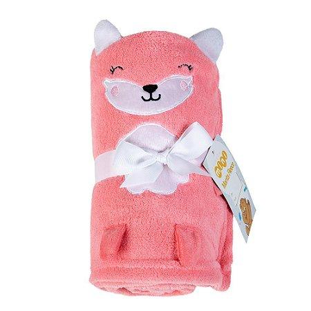 Manta Fleece Baby Bordada Bichinho Lepper Pink
