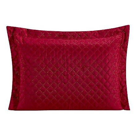 Porta Travesseiro Matelado Requinte Vermelho