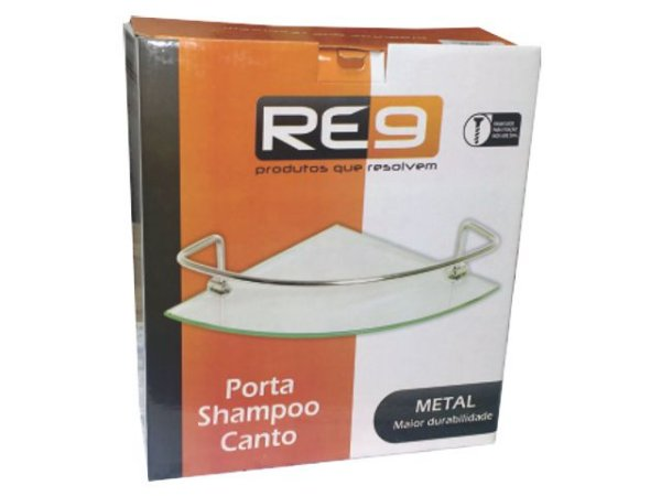 Porta Shampoo Luxo 23x23 Canto Alumínio Re9