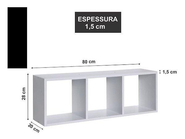 Nicho Triplo 80x28 x20 cm Preto