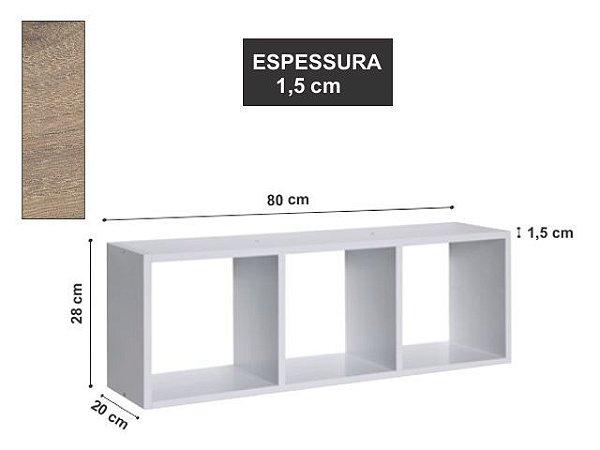 Nicho Triplo 80x28x20 cm Elmo Macciato