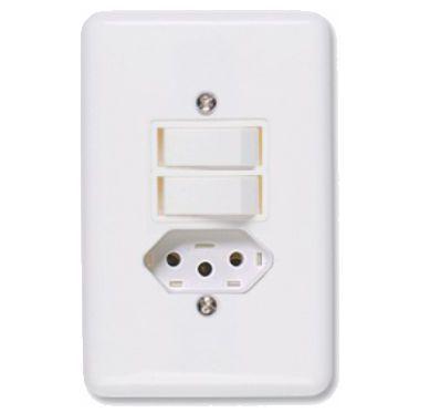 Interruptor Branco 2 Teclas Paralelas+ Tomada