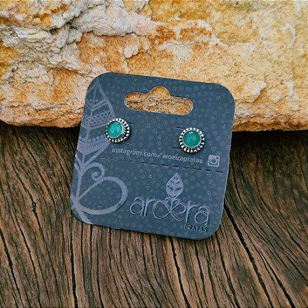 Brinco Pequeno em Prata 925 e Calcedônia Verde