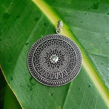 Pingente Mandala Estamparia em Prata 925