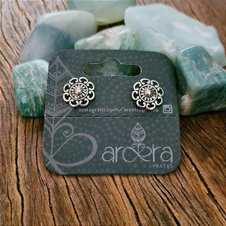 Brinco Pequeno Mandala em Prata 925
