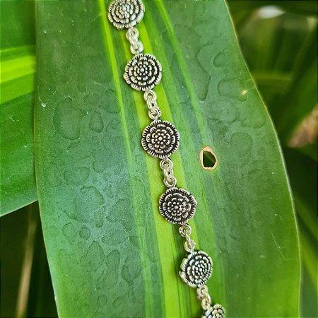 Pulseira Flores em Prata 925