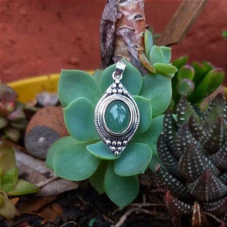 Pingente Indiano em Prata 925 e Quartzo Verde