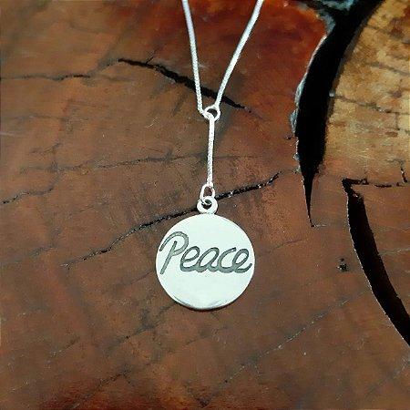Corrente Gravatinha Peace em Prata 925